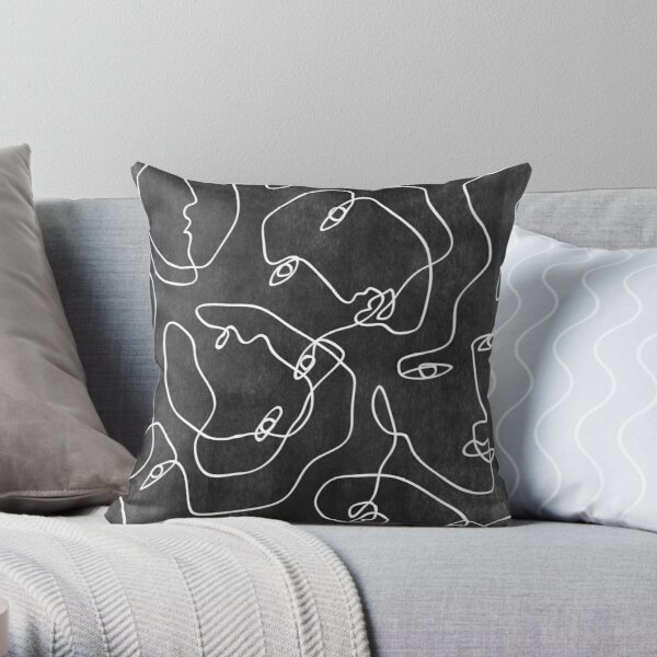 Faces All Over Black And White Throw Pillow