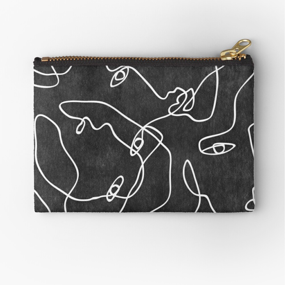Faces All Over Black And White Zipper Pouch