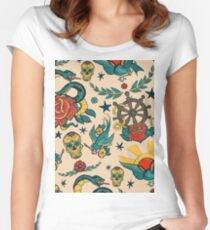 Punk Tattoo Pattern Design and Illustration Women's Fitted Scoop T-Shirt