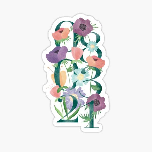 Ilustración Floral Día de la Mujer, 8 de Marzo, Diseño Floral Femenino, Amapolas, Jardín de Flores Pegatina