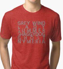 GoT Direwolf Typography (transparent) Tri-blend T-Shirt