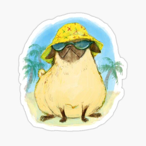 Summer Puggin' Pug Dog Sticker