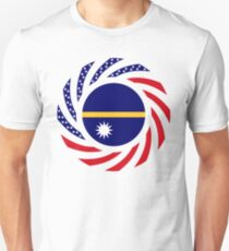 Nauru American Multinational Patriot Flag Series Slim Fit T-Shirt