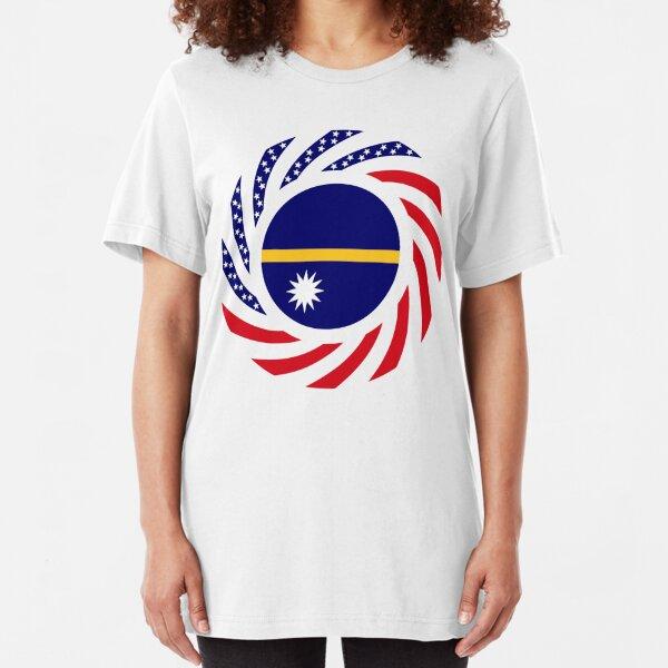 Nauru American Multinational Patriot Flag Series Slim Fit T-Shirt