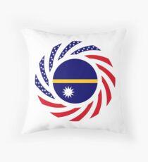 Nauru American Multinational Patriot Flag Series Throw Pillow