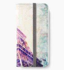 Eiffel Tower, Pink and Mint Green and Butterflies iPhone Wallet/Case/Skin