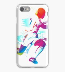 Colorful footballer chasing the ball graphics iPhone Case/Skin
