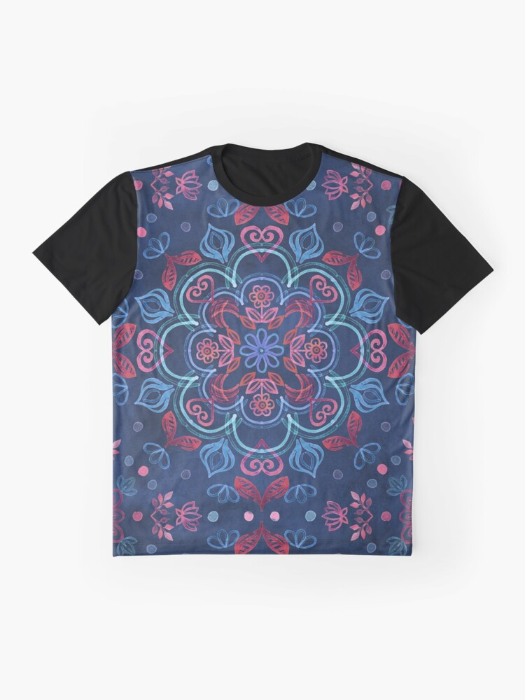 Alternate view of Cherry Red & Navy Blue Watercolor Floral Pattern Graphic T-Shirt