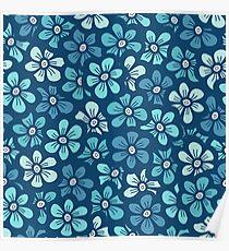 Cute blue flower  pattern Poster