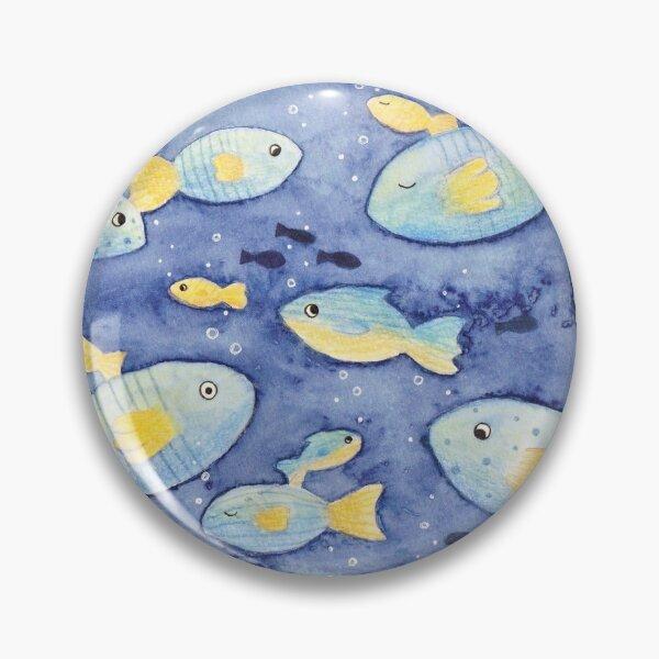 Blue and Orange Funny Fish Pin