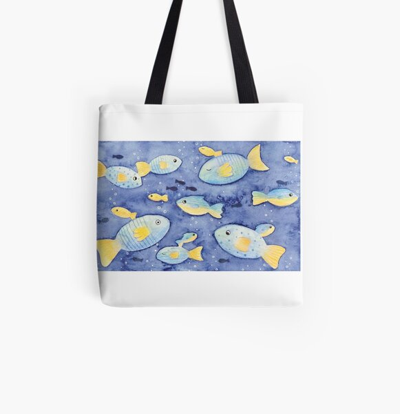 Blue and Orange Funny Fish All Over Print Tote Bag
