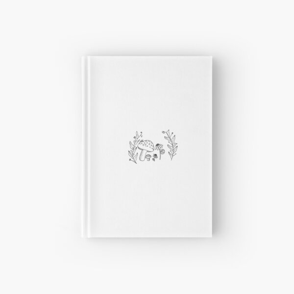 black and white mushrooms with sunflowers  Hardcover Journal