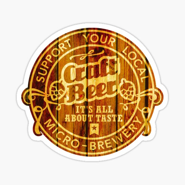 Craft Beer Emblem, wood Sticker