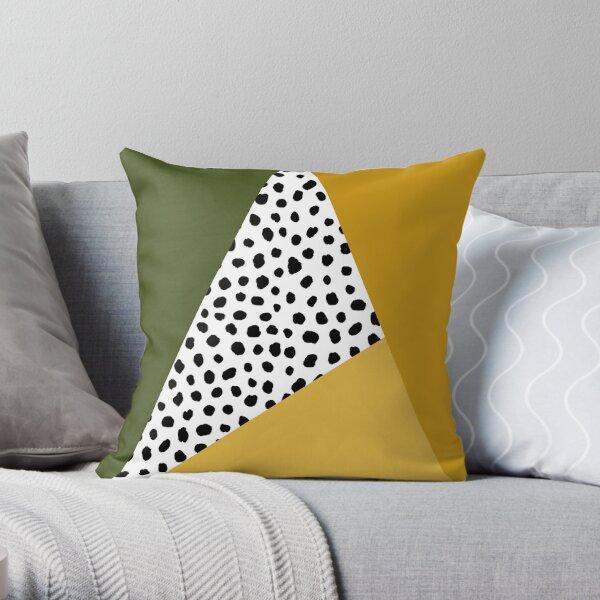 Geometric Polka Dot, Black, Olive Green and Yellow Ochre  Throw Pillow
