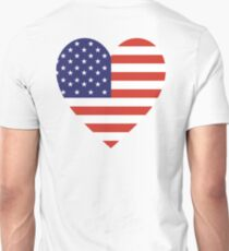 American Flag, USA, Heart, Stars & Stripes, Pure & Simple, Americana, America, on WHITE T-Shirt