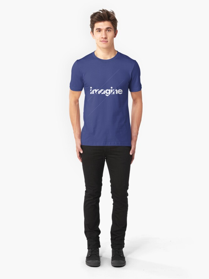 Alternate view of Imagine under stripes /// white version Slim Fit T-Shirt