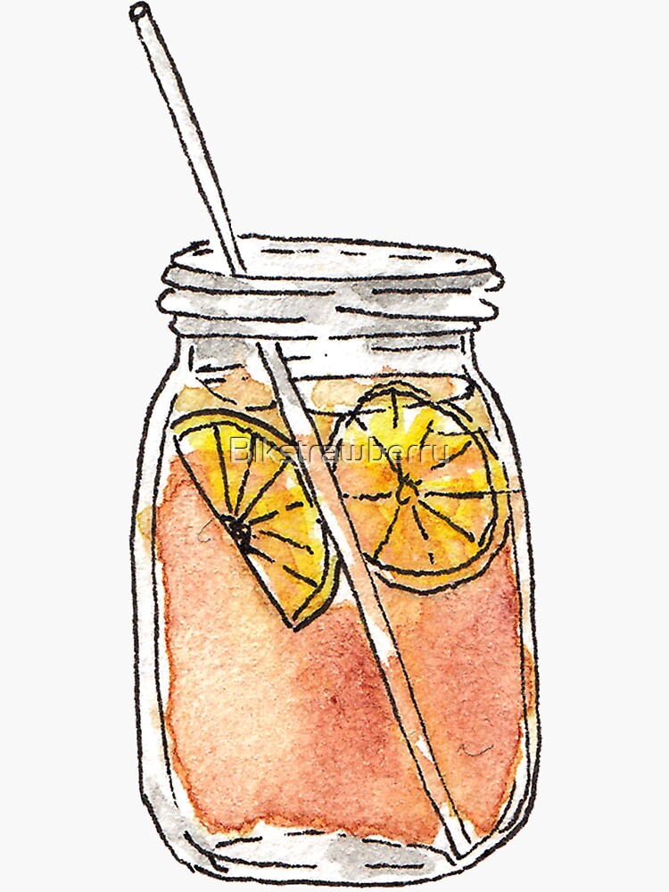 Mason Jar Summer Sun Ice Tea in Watercolor by Blkstrawberry