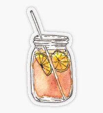 Mason Jar Summer Sun Ice Tea in Watercolor Transparent Sticker