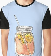 Mason Jar Summer Sun Ice Tea in Watercolor Graphic T-Shirt