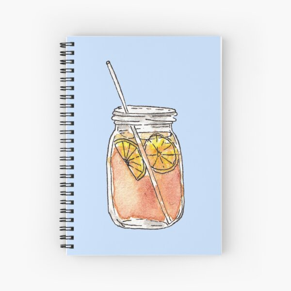 Mason Jar Summer Sun Ice Tea in Watercolor Spiral Notebook