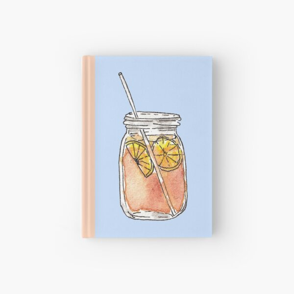 Mason Jar Summer Sun Ice Tea in Watercolor Hardcover Journal