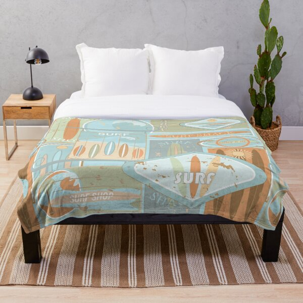 Sun-bleached, Surfboard, Surf Shack Signs Throw Blanket