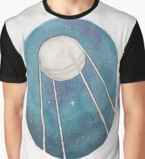 Haruki Murakami's Sputnik Sweetheart // Illustration of the Sputnik Satellite in Space in Pencil & Watercolour Graphic T-Shirt
