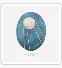 Haruki Murakami's Sputnik Sweetheart // Illustration of the Sputnik Satellite in Space in Pencil & Watercolour Sticker