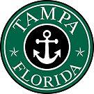 TAMPA FLORIDA ROUND ANCHOR NAUTICAL STAR BLACK GREEN by MyHandmadeSigns