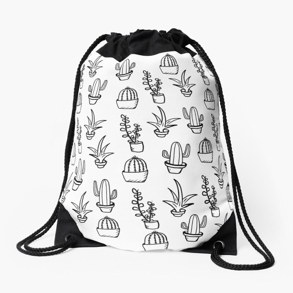 Succulents - Black & White Drawstring Bag