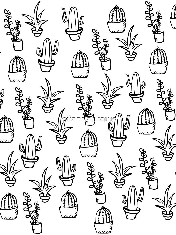 Succulents - Black & White by eliannadraws