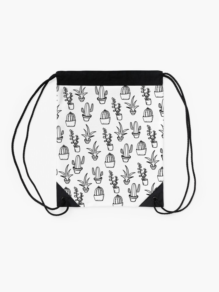 Alternate view of Succulents - Black & White Drawstring Bag