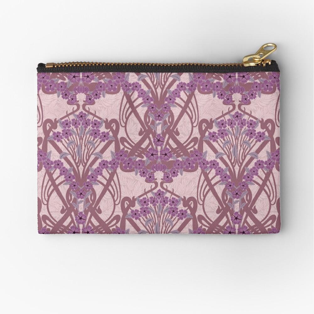 Art Nouveau Garland in Mauve Zipper Pouch