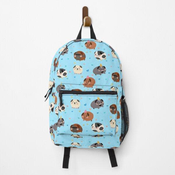Guinea Pigs - Cute Tan and Blue Cartoon Animal Pattern Backpack