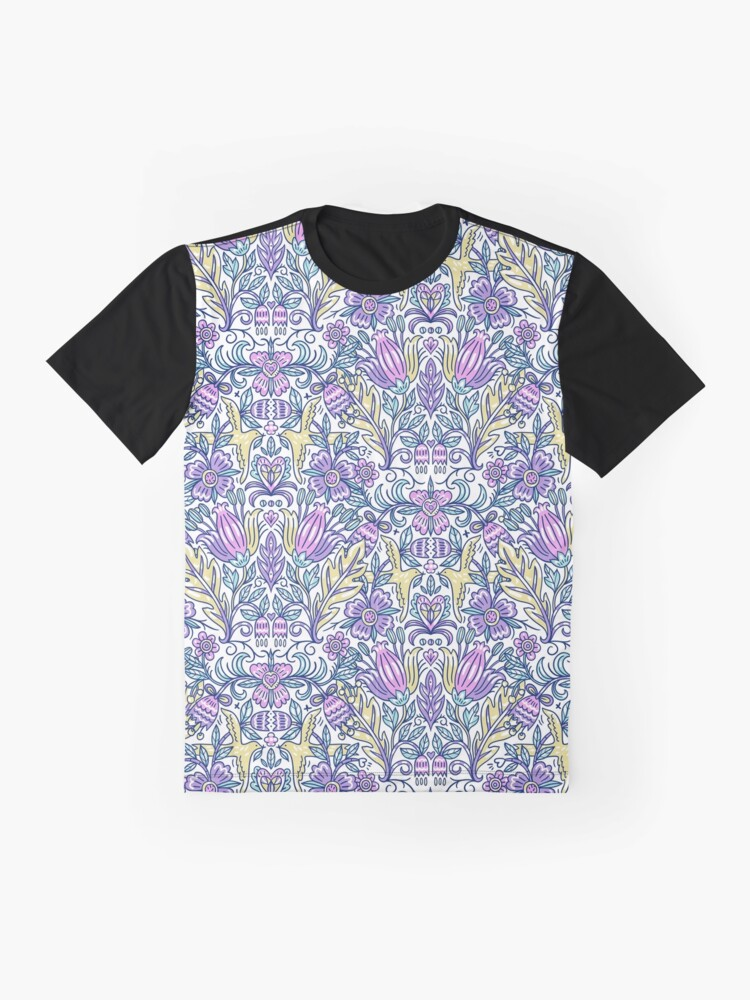 Alternate view of Purple Floral Pattern Graphic T-Shirt