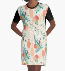 Spring flower pattern, tulips and lilies, 006 Graphic T-Shirt Dress