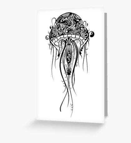 Black Retro Jellyfish Over White Background Greeting Card