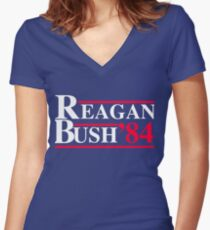 Reagan Bush '84 Retro Logo Red White Blue Election Ronald George 1984 84 Women's Fitted V-Neck T-Shirt