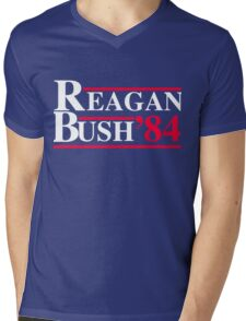 Reagan Bush '84 Retro Logo Red White Blue Election Ronald George 1984 84 Mens V-Neck T-Shirt