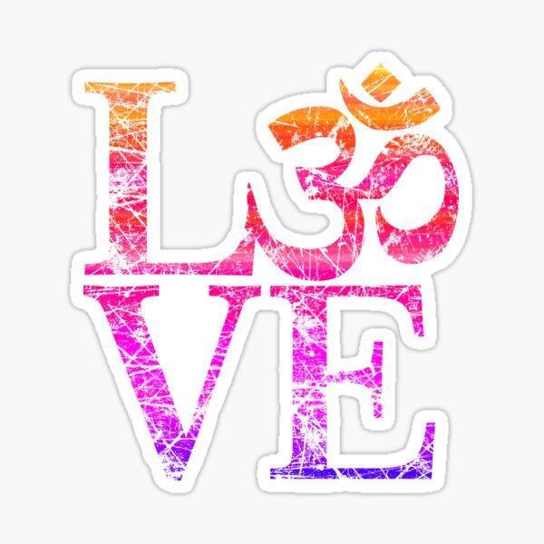OM LOVE Spiritual Symbol in Distressed Style Sticker