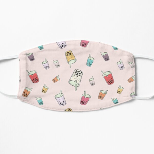Colorful Boba Bubble Tea Pink Pattern Flat Mask