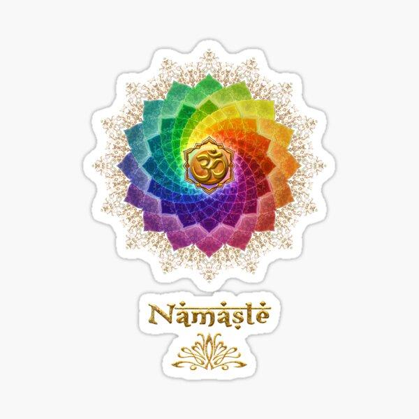 Rainbow Lotus Om Namaste Sticker