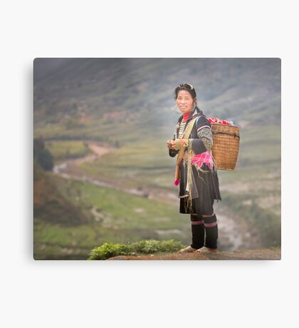 Vietnamese woman in landscape Metal Print