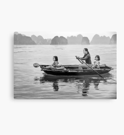Rowing in Halong Bay Metal Print