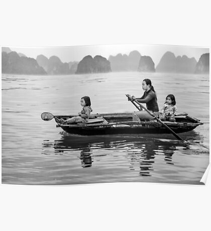 Rowing in Halong Bay Poster