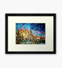 Asgard stained glass style Framed Print