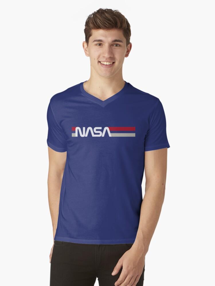 Retro NASA Mens V-Neck T-Shirt Front