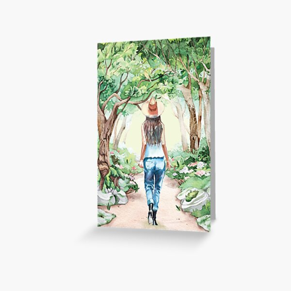 Wald Natur Spaziergang Grußkarte