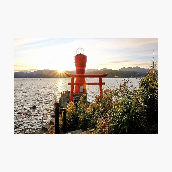 Japan - Otsuchi Harbor Tori Gate at Sunset - Iwate Prefecture Photographic Print