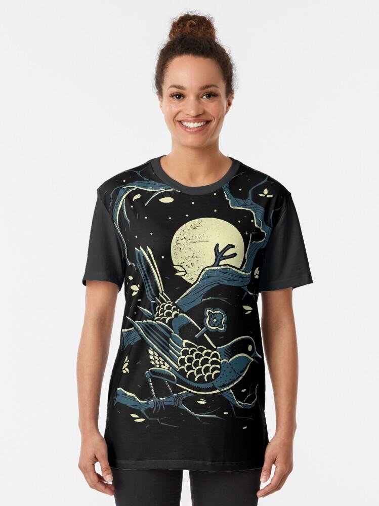 Alternate view of haruki murakami bird moon Graphic T-Shirt